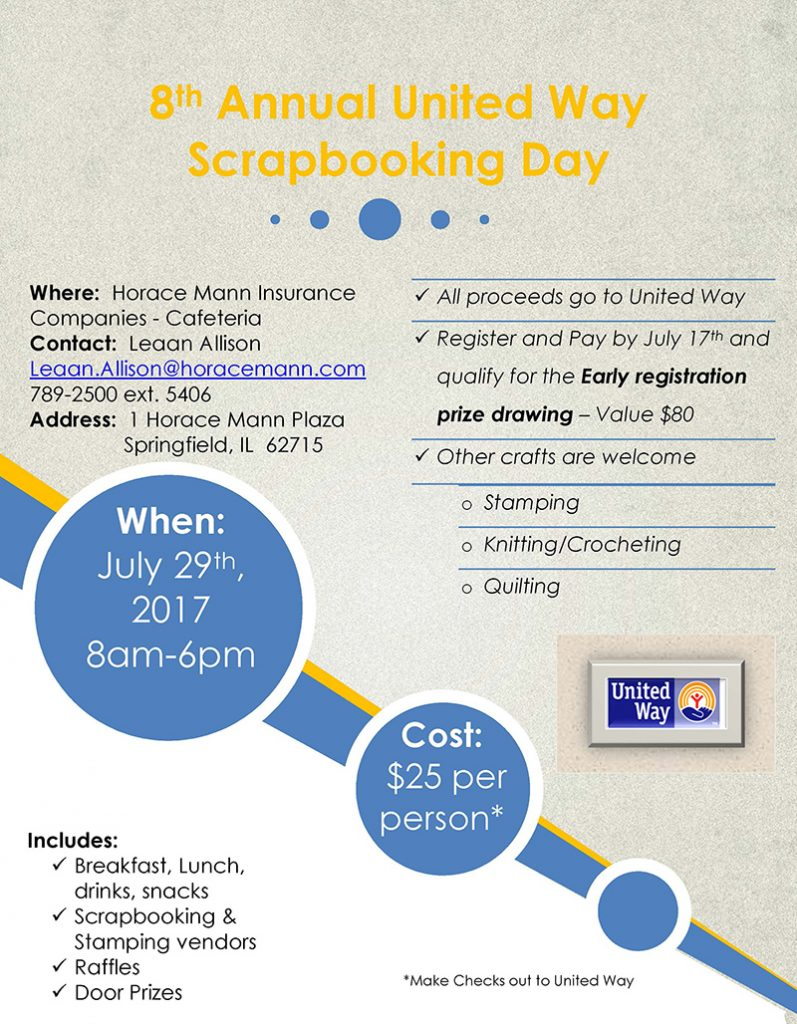8th Annual United Way Scrapbooking Day @ Horace Mann | Springfield | Illinois | United States
