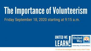 United We Learn Session: The Importance of Volunteerism @ Virutal